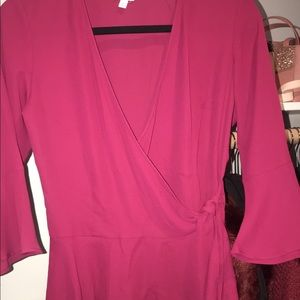 red peplum blouse with side tie
